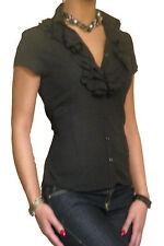 Damen-Bluse Damen Bluse kurzärmlig Oberteile Chiffon Größe 10 12 14 16 18 20 22