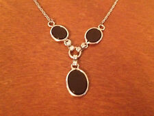 Likely Vintage 12 Karat Gold Filled Chain Onyx Pendants Necklace