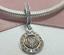 Pandora Charm Corazón Chapado Oro amarillo Plata ,925 Con bolso