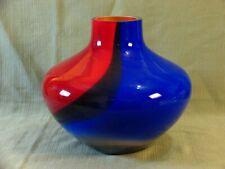 "Stunning Vintage Poland Carnival 11"" Rainbow Colored Glass Vase"