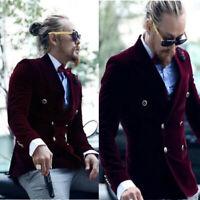 Burgundy Men's Suits Velvet Double Breasted Business Wedding Tuxedos Blazers