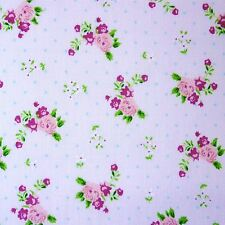 Polka Dot Polycotton Fabric with Roses & Small Flower Print - Various Colours...