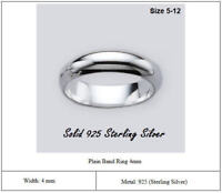 Solid 925 Sterling Silver Plain Band Ring Width 4mm Wedding Band Ring Comfort