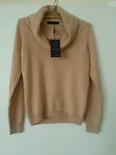 Nouveau Marks And Spencer 100% Cachemire Col Boule Pull Pull en Camel Taille 12