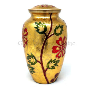 Beautiful Large Gold & Orange Floral Engraved Brass Adult Urn For Human Ashes