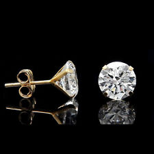 2CT CREATED DIAMOND MARTINI EARRINGS 14K YELLOW GOLD SOLITAIRE LIGHT PRONG STUDS