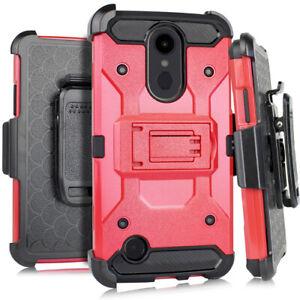 For LG Rebel 4 LML212VL / LML211BL - Hybrid Holster Hard Armor Case w/ Belt Clip