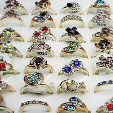 New 50pcs Wholesale Jewelry Lots Mix Czech Rhinestones Gold P Rings for Women
