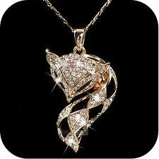 18k rose gold made with SWAROVSKI crystal fox pendant necklace filigree