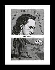 1864-rpt EDWIN BOOTH Skull HAMLET Shakespeare BROADWAY Actor Caricature MATTED
