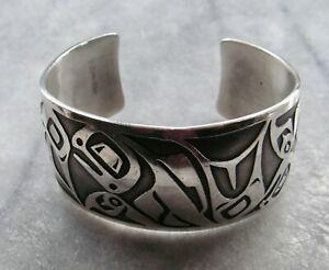 MAG Solid Sterling Silver Northwest Coast Whale Cuff Bracelet 73gr - Signed DD