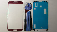 Samsung Galaxy S4 Red Genuine Glass Replacement Screen Lens Tools + Adhesive