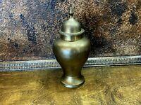Vintage Brass Urn with Lid ~ Cremation Ash Vase ~ Estate Item