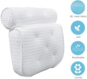 Luxury Spa Bath Pillow Cushion Premium Waterproof 4D Mesh Neck Back Comfortable