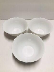 Arcopal White Glass France dessert Bowl Swirl   Set of 3