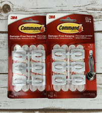 Lot of 2 ~ 3M Command Mini Hooks 12 Plastic Hooks Strong Hold Reusable Indoors