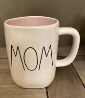 Rae Dunn - MOM - LL by Magenta White W Pink Interior Ceramic Mug - Coffee Tea