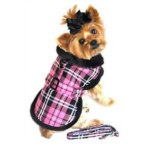 Doggie Design Pink Classic Plaid Wool/fur Collared Harness Coat W/leash LARGE