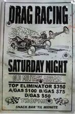 Drag Racing Saturday Night Embossed Metal Sign