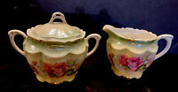 Antique Made In Germany Rose Pink Green Gold Creamer And Sugar Set Hand Painted