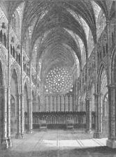 ST.PAUL'S. Old St.Paul's-the interior, looking East. London c1880 print