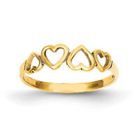 14k Yellow Gold Heart Ring R42 Size 6