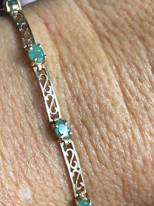 10K Gold Emerald Tennis Bracelet