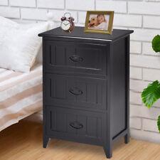 3 Drawers Nightstand End Table Bedroom Storage Wood Side Bedside Black