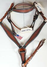 Outlaw Brand Leather Brown Black QH Headstall & Breast Collar Set Made In USA