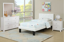 White Twin size Bed Tufted Faux Leather Upholstered Platform Headboard FtBoard