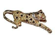 Vintage 9ct Yellow Gold, Sapphire, Ruby & Diamond Leopard Brooch