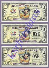 2009 Disney Dollars *Celebrate Today* ALL THREE $1 Banknotes MINTED * A D & T