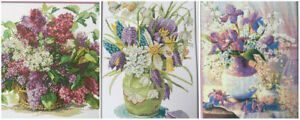 Flowers Counted Cross Stitch Kit Set 14 ct