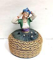 Porcelain Bisque Art Nouvea Deco Flapper Half Doll Pin Cushion