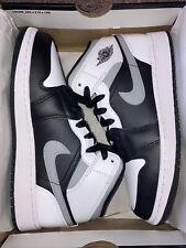 Air Jordan 1 Mid White Shadow Black Smoke Grey Gs 554725-073 Size 5Y - 7Y