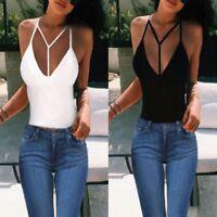 Bikini Women V-Neck Sleeveless Crop Blouse T-shirt Tank Top Halter Camisole