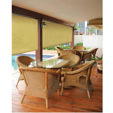 Cordless Outdoor Roller Shade Exterior Roll Up Blind Ceiling Wall Mount 96X72 in