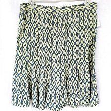 Hannah Womens Skirt Size XL Printed Denim Blue Trumpet Flared Panel