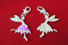 "BULK! 15pc clip-on ""dancing girl"" charms in antique silver style (BC302B)"