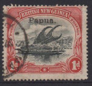 PAPUA (BNG) 1907 1d BLACK- CARMINE LAKATOI STAMP USED SG.39 (Sm.papua) OVP