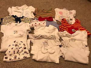 Newborn 0-3 Tiny Baby 3-6 Boy Clothes Bundle 15 Outfits Sleepsuit Bodysuit Vest