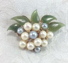 Swoboda Jade Flower Spray Pin Brooch Pearls Vintage Floral Pattern Jade Gems