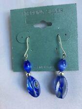 Sterling Silver Royal Blue Glass Beads Dangle Earrings-NWT
