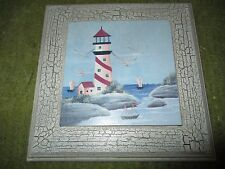 """Vintage Original LIGHTHOUSE Wood Tile Trivot Hanger 8X8""""  310"""