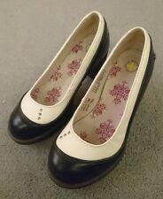 Dr Martens Calista Negro Blanco Zapatos Taco Alto Tribunal UK 4 EU 37 Retro Pinup GC