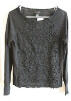 J. Crew Collection Black Lace Stitch Front Sweater, Size Small