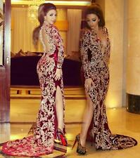 Burgundy V Neck Mermaid Evening Dresses Lace Long  African Formal Prom Gowns
