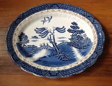 "BOOTHS REAL OLD WILLOW NO:9072 LARGE 13.75"" OVAL MEAT PLATTER/PLATE C:1912 VGC"