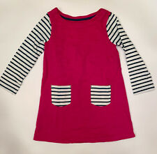 Girl's Mini Boden Long Sleeve Pink Dress With Green And White Stripes Size 5-6