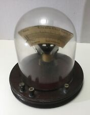Antique Vintage Columbia School Supply Volt Amp Meter w/ Glass Dome, Wood Base